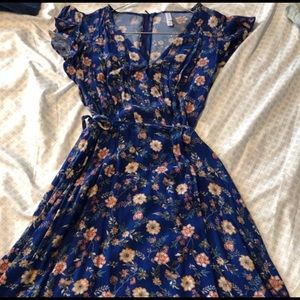 💄EXHILARATION Blue Floral Wrap Dress